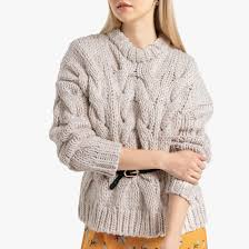 "<b>Пуловер</b> с узором ""косы"" из плотного шерстяного трикотажа ..."
