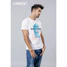 SIMWOOD <b>2019</b> summer <b>new fashion letter</b> print t shirt men 100 ...