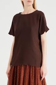 Шоколадно-коричневая <b>блуза с коротким рукавом</b> от дизайнера ...