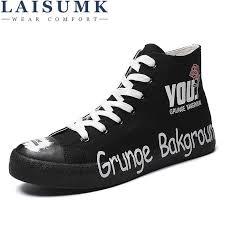 <b>LAISUMK 2020</b> Fashion High Top Sneakers Canvas Shoes Men ...