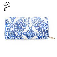 PU <b>Leather</b> Wallets Women Blue And White Porcelain <b>Chinese Style</b> ...