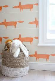 the fox print wallpaper in their sons bedroom is scion who also supplied the rug in zoellas apartment modern country style kates creative space bedroom cool bedroom wallpaper baby nursery