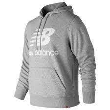 New balance <b>Essentials Stacked Logo</b> Po Hoodie Grey, Runnerinn