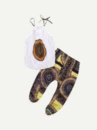 Девушки Геометрическая печать <b>Верхняя стропа</b> с брюками ...