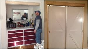 Closet Barn Doors Remodelaholic How To Make Bypass Closet Doors Into Sliding Faux