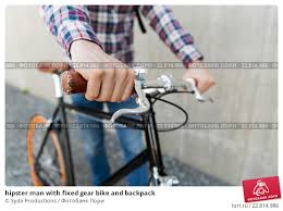 <b>hipster</b> man with <b>fixed gear</b> bike and backpack. Стоковое фото ...