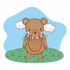 Милый маленький <b>мишка</b> с <b>шарфом</b> в лагере | Премиум векторы
