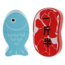 2 PCS <b>Simulation Wooden</b> Magnetic Fish Meat Food Play <b>Children</b> ...
