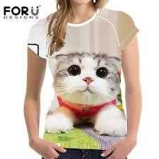 <b>FORUDESIGNS</b> Summer Newest <b>Women T Shirt</b> 3D Kawaii Cute ...