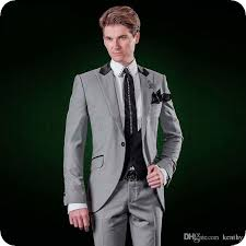 <b>Latest Designs Grey Men</b> Suits For Wedding Classic Groom Wear ...