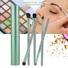 portable 5 pcs foundation makeup brush set eyeshadow eyebrow eyeliner brushes with case cosmetic tool for beginner