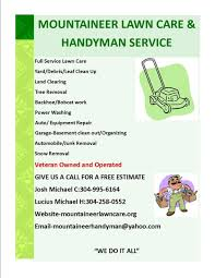 lawn care flyers info flyer mountaineer lawn care handyman service