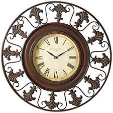 Deco 79 75621 <b>Metal</b> Wall Clock with <b>Round Flower</b> Themed <b>Border</b>
