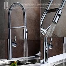 nickel brushed kitchen faucet pull out single spout mixer tap deck mounted handle brass hot$cold wate taps