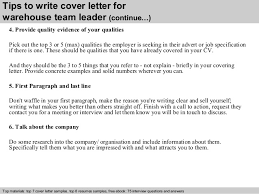 4 tips to write cover letter for warehouse team leader executive team leader cover letter