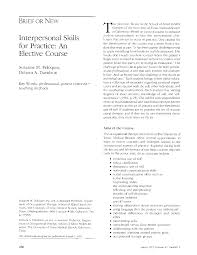 interpersonal skills for practice an elective course american first page pdf preview