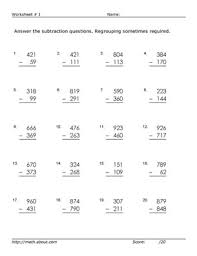 Free Printable Math Worksheets For Grade 3 Subtraction ...Subtraction Worksheet D Rus