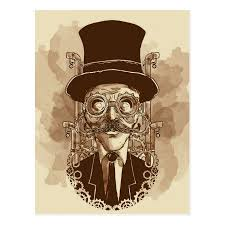 <b>Steampunk</b> Man <b>Hand Painted Vintage</b> Art Postcard | Zazzle.com ...