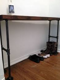 easy modern black iron pipe bench entryway table sideviewjpg black iron pipe table
