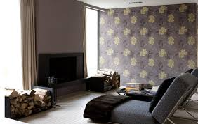 amazing modern living room decorating ideas with beautiful floral wallpaper and grey sofa bed also built in fireplace with ready cordwood amazing modern living