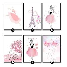 <b>Pink</b> Girl <b>Nordic</b> Style Cartoon Canvas <b>Poster</b> Wall Art Prints ...