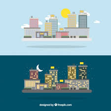 <b>Cute day and night</b> city Vector | Premium Download