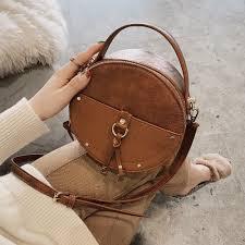 <b>Vintage</b> Scrub Leather Round Designer Crossbody <b>Bag</b> For <b>Women</b> ...