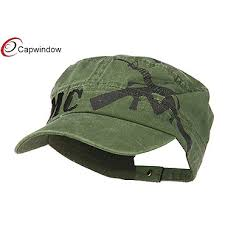(13025) Green Jeep Style <b>Flat Top Military Hat</b> with Pure Cotton ...