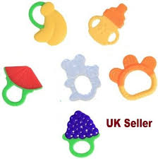 <b>Baby Silicone</b> Fruit <b>Baby</b> Teether <b>Toddler Teething Toy</b> Ring ...