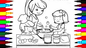 Small Picture Coloring Pages Kitchen l Mommy Baking with Boy and Girl l Drawing