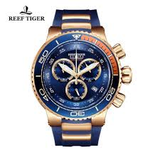 new reef tiger rt all blue fashion sport watches rose gold mens watch big date chronograph stop reloj hombre rga303 2