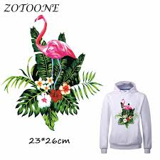 <b>ZOTOONE Pretty</b> Flower <b>Flamingo</b> Iron on Patches for Clothes Heat ...