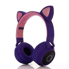 EastVita Cute <b>Wireless Bluetooth</b> Earphone Foldable <b>Flashing Cat</b> ...