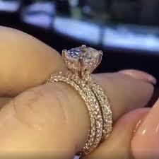 <b>INBEAUT</b> Trendy <b>Sparkling</b> Stone Wedding Rings <b>Silver 925</b> Rose ...