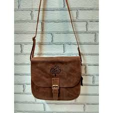 Brown <b>Genuine Leather Round</b> Sling <b>Bag</b> For Girls/ Boys/ Office ...