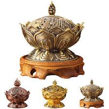 Vintage Chinese <b>Lotus Flower Backflow Incense</b> Burner Censer ...