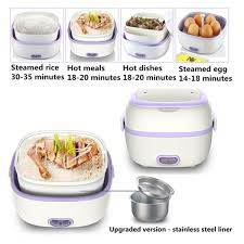 1L Stainless steel <b>Electric Lunch</b> Box Mini Rice <b>Cooker Portable</b> ...