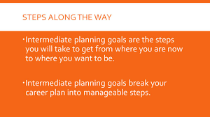 developing a career plan chapter what you will learn how steps along the way 61600 intermediate planning goals are the steps you will take to get