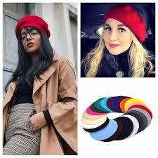 <b>Autumn Winter</b> Beret Hat Painter Style Hat Women <b>Wool</b> Vintage ...