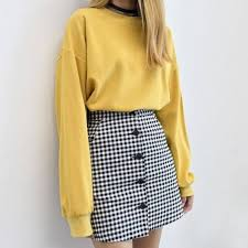 <b>yellow</b> sweater, checkered skirt, outfit, clueless vibes in <b>2019</b> ...