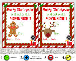 merry christmas tags redbox codes gift tags 4 different designs cards digital printable merry christmas to all and to all a movie night redbox code movie gifts