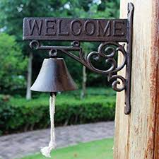CKH <b>American Country Retro</b> Welcome Cast Iron Doorbell Hand ...