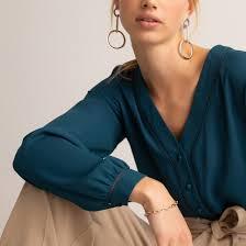 <b>Блузка</b> с <b>v</b>-<b>образным</b> вырезом и длинными рукавами сине ...