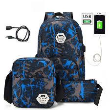 <b>3pcs USB Male Backpack</b> Bag <b>Set</b> Red And Blue High School Bag ...