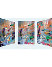 HLKJ 3 Pcs <b>5D Diy Diamond Painting</b> Koi Fish Pond Landscape ...