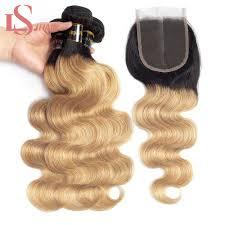 <b>LS Hair Human Hair Bundles</b> With Closure Brazilian Body Wave ...