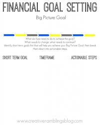 setting financial goals printable worksheets creative financial goal setting short term goals and steps