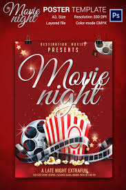movie night flyer template 25 jpg psd format elegant movie night poster template
