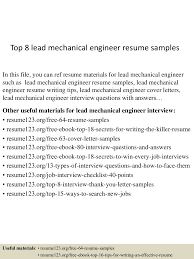 top8leadmechanicalengineerresumesamples 150516092225 lva1 app6891 thumbnail 4 jpg cb 1431768194