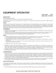 equipment operator resume safe and efficient operation equipment operator resume